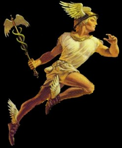 Hermes, the Greek version of Mercury, with his caduceus, the healing staff. Mercury, the divine messenger, is associated with healing.