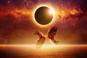 Pisces Solar Eclipse - Artist Unknown