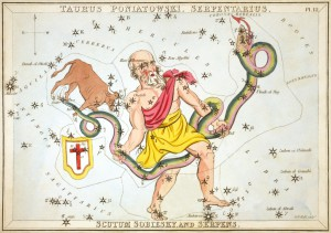 Ophiuchus from Urania's Mirror, courtesy Wikipedia.
