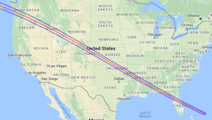 Path of total solar eclipse, June 8, 1918